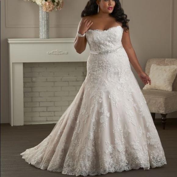 Plus size wedding dress Ivory/Tan Size 24 NWT